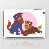 pit bull iPad Cases featuring Pit Bull Shisa Guardians by AlliePets