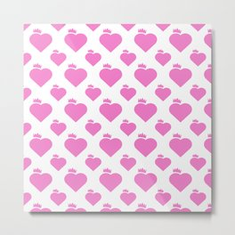 Crown Heart Pattern Pink Metal Print