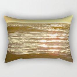 Golden Sparkling Sea-Dolphin Fin Rectangular Pillow