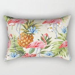 Floral Flamingos Rectangular Pillow