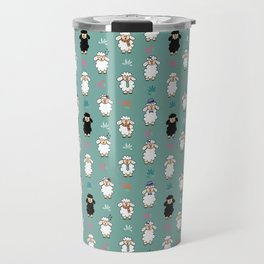 Seamless vector pattern with sheep and flowers Travel Mug