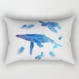 Blue Watercolor Sea Creatures Rectangular Pillow