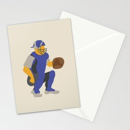 Baseball Player in Blue Catching, Flat Graphic Stationery Cards