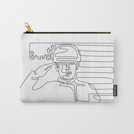 American Soldier Saluting USA Flag Continuous Line Carry-All Pouch