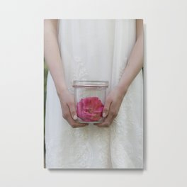 Trapped Rose Metal Print