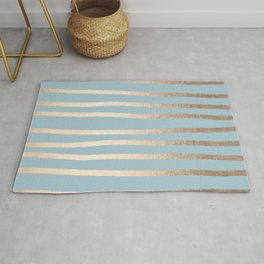 Abstract Drawn Stripes Gold Tropical Ocean Sea Blue Rug