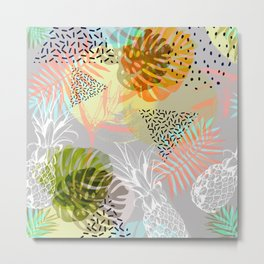 Abstract geometric and tropical elements Metal Print