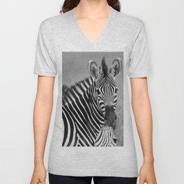 Zebra B&W Unisex V-Neck