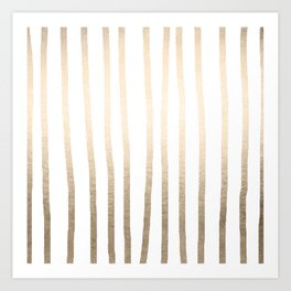 Simply Drawn Vertical Stripes in White Gold Sands Art Print