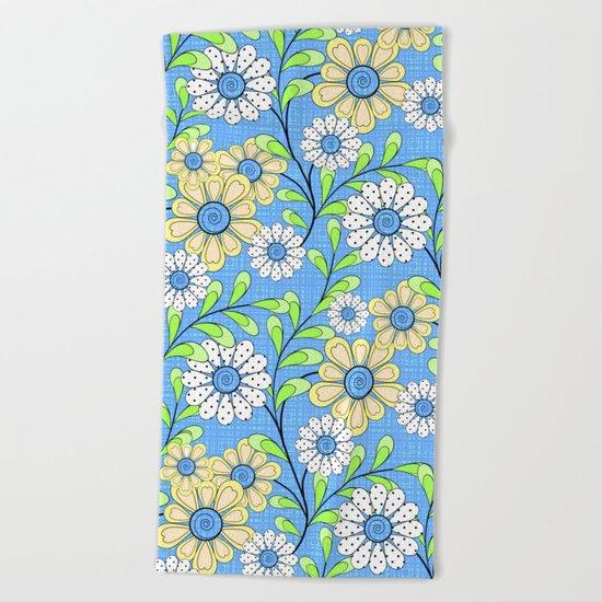 Bright floral pattern. Beach Towel