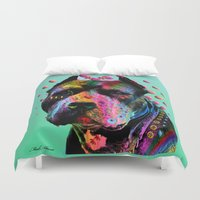 pit bull Duvet Covers featuring pit bull  by mark ashkenazi