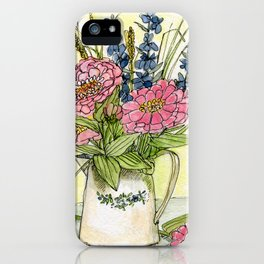 Pink Zinnias in Pitcher Watercolor iPhone Case