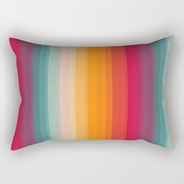 Retro Rainbow Striped Pattern Rectangular Pillow
