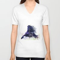 running V-neck T-shirts featuring Horse running  by Mary Karydy