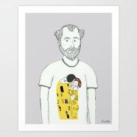 gustav klimt Art Prints featuring Gustav Klimt portrait by Irene LoaL