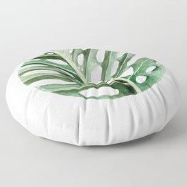 Circular Monstera Leaf Painting Floor Pillow