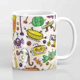 Monster Halloween Candy Bots in Orange, Green, & Purple  // Fall Holiday Themed Candy Robots Coffee Mug