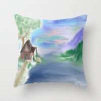cabin Throw Pillows featuring Peaceful Cabin by Christina Dugger