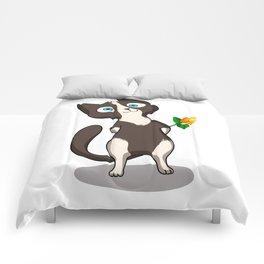 Tuxedo cat with flower Comforters