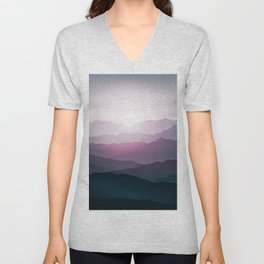 dark blue mountain landscape with fog and a sunrise and sunset Unisex V-Neck