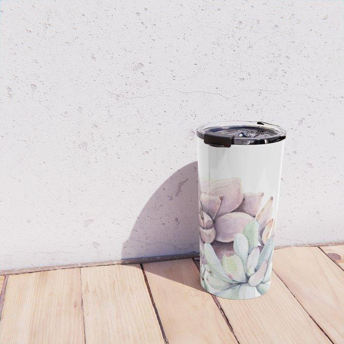 Desert Succulents on White Travel Mug