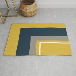Half Frame Minimalist Pattern 3 in Deep Mustard Yellow, Navy Blue, Grey, and White. Rug