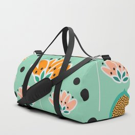Summer flowers in mint Duffle Bag
