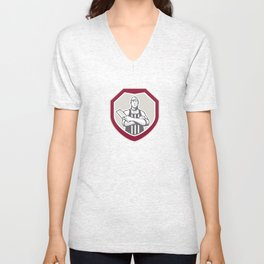 Butcher With Meat Cleaver Shield Retro Unisex V-Neck