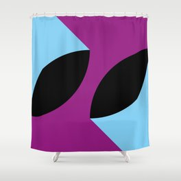 Two 3d seeds being thrown strongly, in a purple space. Shower Curtain