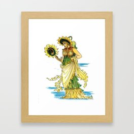 Vintage Sunflower Lady Goddess Framed Art Print