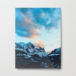 Snowy Mountain Glory Metal Print