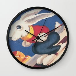 Dolomiti Ski Bunny Vintage Poster Wall Clock