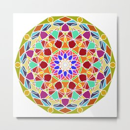 bright fractal mandala Metal Print