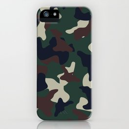Green Brown woodland camo camouflage pattern iPhone Case