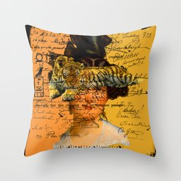 GENTLEWOMAN FACE WITH SLEEPING TIGER II Throw Pillow