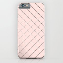 Back to School - Simple Diagonal Grid Pattern- Black & Pink - Mix & Match with Simplicity of Life iPhone Case