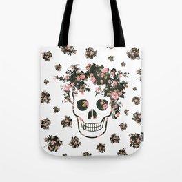 Flower Skull, Floral Skull, Pink Flowers on Human Skull Tote Bag