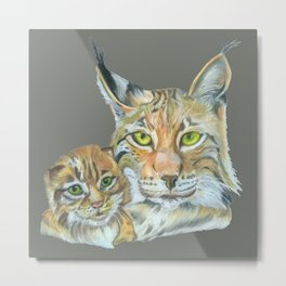 Lynxes (Lynx with Baby) Metal Print