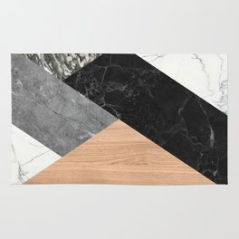 Marble and Wood Abstract Rug