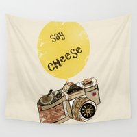 cheese Wall Tapestries featuring say cheese by bri.buckley