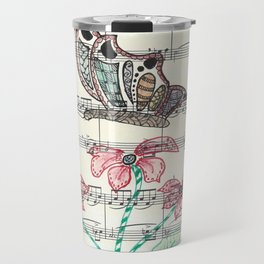 Butterfly and Poppy on music sheet Travel Mug