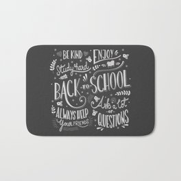 Back to school typography drawing on blackboard with motivational messages, hand lettering Bath Mat