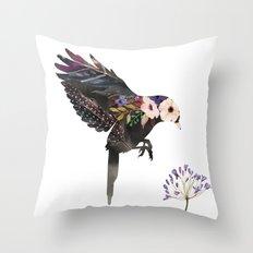 Hummingbird Watercolour Silhouette Throw Pillow