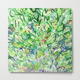 abstract watercolor green leaves Metal Print