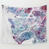 vancouver Wall Tapestries featuring Vancouver map by MapMapMaps.Watercolors