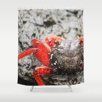 crab Shower Curtains featuring Crab by Cassidy Marshall