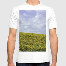Field of Happiness - Sunflowers  MEDIUM White Mens Fitted Tee