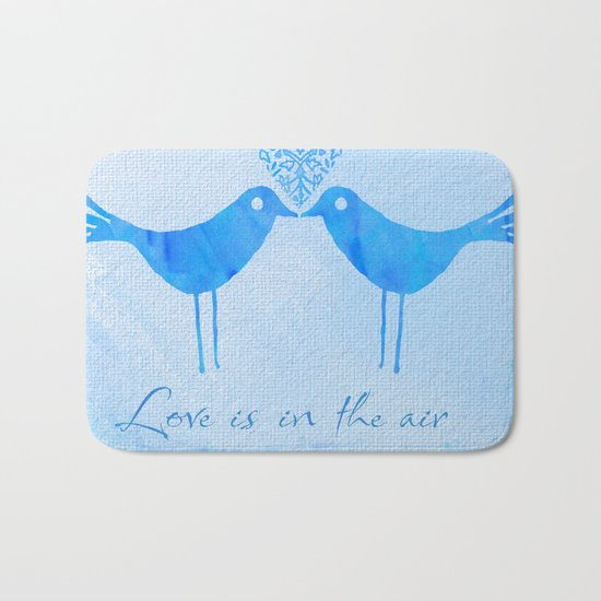 cute watercolor birds with heart and Love is in the air Bath Mat