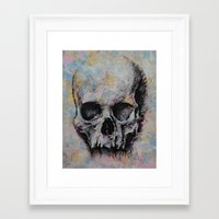 medieval Framed Art Prints featuring Medieval Skull by Michael Creese
