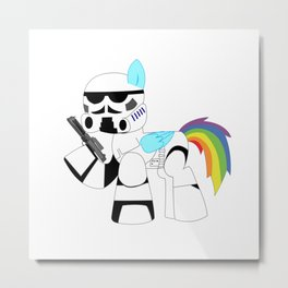Unicorn Trooper Rainbow Metal Print